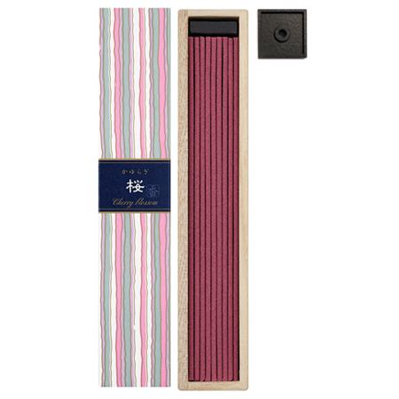 Cherry Blossom fragrance Japanese Incense | Kayuragi by Nippon Kodo | Box of 40 Sticks & Holder