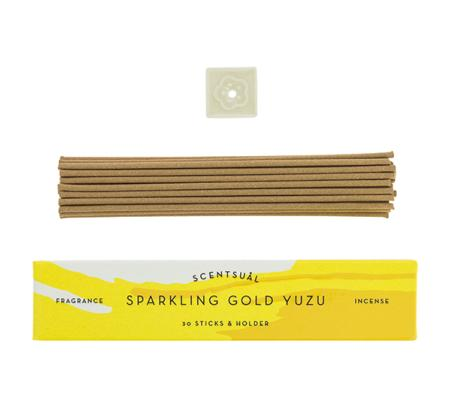 Sparkling Gold Yuzu | Scentsual range Japanese Incense Sticks by Nippon Kodo | 30 sticks & holder