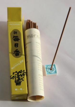 Morning Star Patchouli Incense | Box of 50 Sticks & Holder by Nippon Kodo