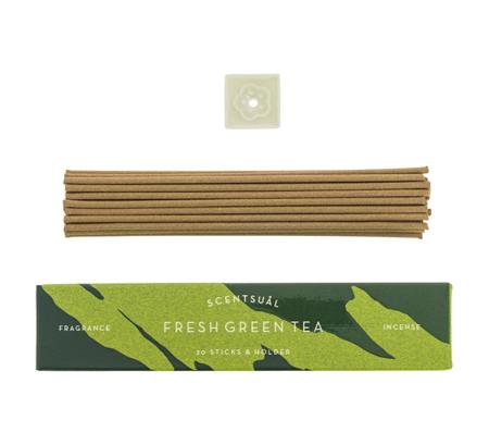 Fresh Green Tea | Scentsual range Japanese Incense Sticks by Nippon Kodo | 30 sticks & holder