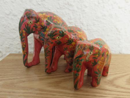 Pink Floral Themed Kashmiri Elephant Family