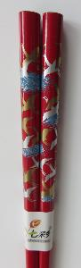 Red Lacquered wooden chopsticks with Crane images on handles