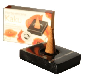 Incense Cone Holder / Burner | Kaku | Black | with Mother of Pearl inlay