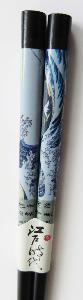 Black Lacquer Chopsticks with classic Japanese 'The Wave' image