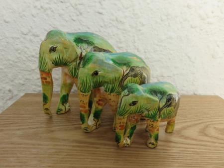 Green/Yellow Jungle Theme Kashmiri Elephant Family