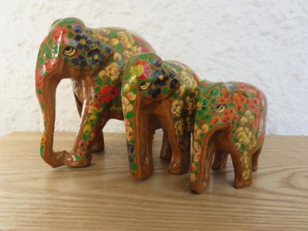 Gold Floral Themed Kashmiri Elephant Family