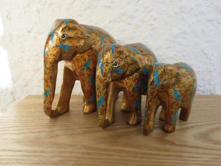 Gold with Blue Birds Themed Kashmiri Elephant Family
