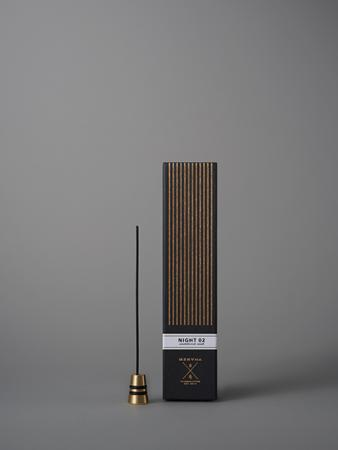 Fine Japanese Incense by Menuha | Night 02 | 30 Sticks in a Glass Tube with Brass Holder