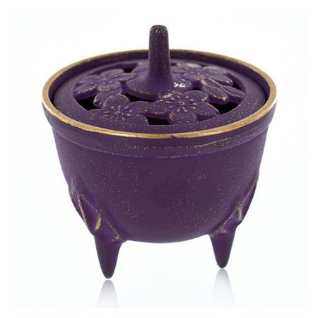 Cast Iron Incense Bowl with Lid | Purple & Gold | by Japanese maker Iwachu