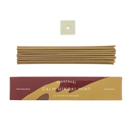 Calm Hinoki Mint | Scentsual range Japanese Incense Sticks by Nippon Kodo | 30 sticks & holder