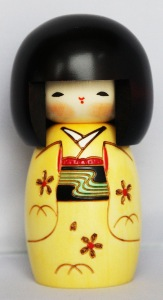 Traditional Japanese Kokeshi Doll   Happy Girl Yellow