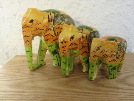 Orange Jungle Themed Kashmiri Elephant Family