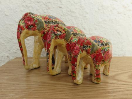 Red Floral Themed Kashmiri Elephant Family