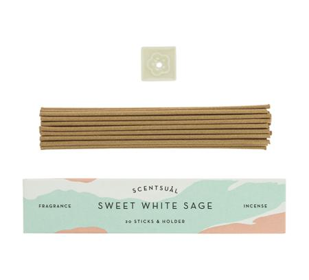 Sweet White Sage | Scentsual range Japanese Incense Sticks by Nippon Kodo | 30 sticks & holder