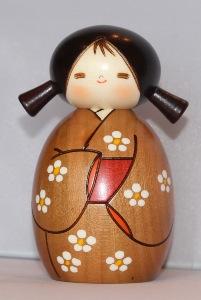 Small Springtime Kokeshi Doll