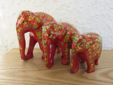 Red Floral (2) Themed Kashmiri Elephant Family