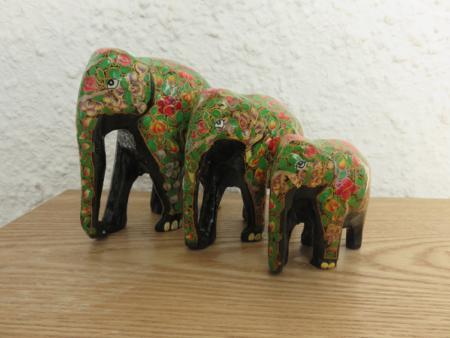 Green Leaves & Flowers Themed Kashmiri Elephant Family