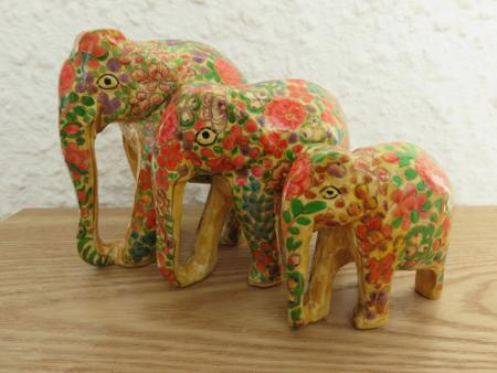 Yellow Floral Themed Kashmiri Elephant Family