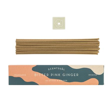 Bitter Pink Ginger | Scentsual range Japanese Incense Sticks by Nippon Kodo | 30 sticks & holder