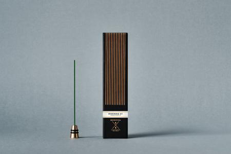 Fine Japanese Incense by Menuha | Morning 01 | 30 Sticks in a Glass Tube with Brass Holder