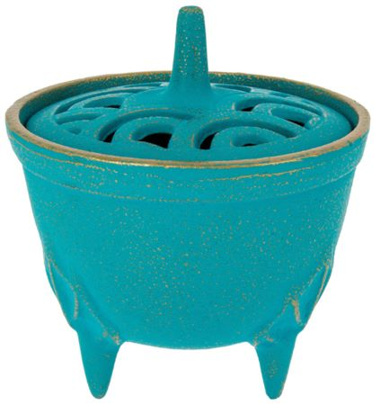 Cast Iron Incense Bowl with Lid | Turquoise | by Japanese maker Iwachu