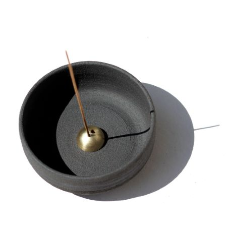 Ume   Raw Black Stoneware Incense Bowl and Gold Dome Holder   New Dome shape