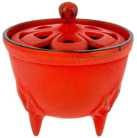 Cast Iron Incense Bowl with Lid | Red | by Japanese maker Iwachu