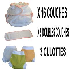 Start Pack, 16 couches lavables Evolutive Lulu Bambou + 3 Lulu Boxer S - mixte