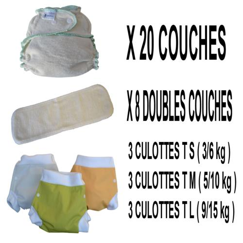 Confort Pack  0-3 ans, 20 couches lavables Lucie Nature Chanvre - 3 x 3 Lulu Boxer - mixte - Sac de Transport OFFERT