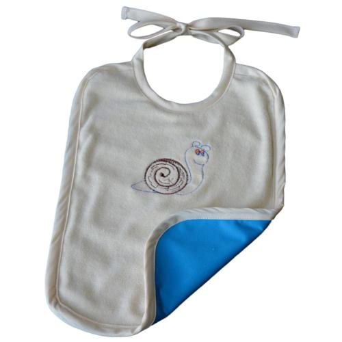 Grand bavoir Aqua Coton Biologique Imperméable Escargot