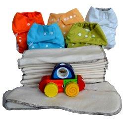 Pack complet 0-3 ans, 9 EcoCouche Lavable coloris mixte - 18 Inserts Coton Bio