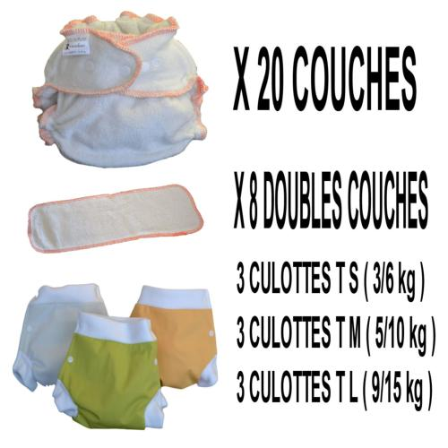 Confort Pack  0-3 ans, 20 couches lavables Lulu Bambou - 3 x 3 Lulu Boxer - mixte - Sac de Transport OFFERT