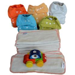 Pack complet  0-3 ans, 9 EcoCouche Lavable coloris mixte - 18 Inserts BAMBOU