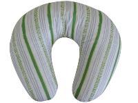 Housse bébé coussin allaitement, 1 face Rayé Vert / 1 face éponge Coton Bio