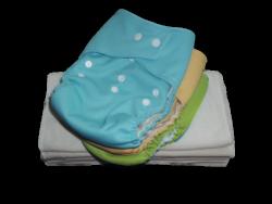 Mini Pack 5-15 kg, 3 Eco Couche lavable coloris mixte - 6 Inserts Bambou
