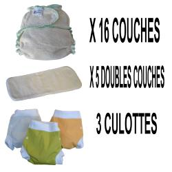 Start Pack, 16 couches lavables Evolutive Lucie Nature chanvre + 3 Lulu Boxer L - mixte