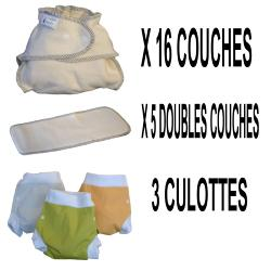 Start Pack, 16 couches lavables Evolutive Modulo Bio (coton bio) + 3 Lulu Boxer S - mixte