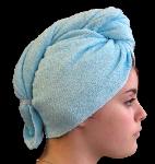 Serviette sèche cheveux Bambou Bleu