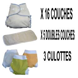Start Pack, 16 couches lavables Evolutive DOOble Nature chanvre + 3 Lulu Boxer L - mixte