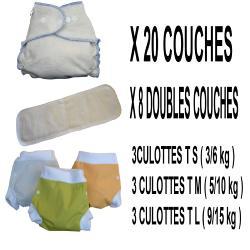 Confort Pack 0-3 ans, 20 couche lavable Double Nature Chanvre - 3 x 3 Lulu Boxer - mixte