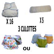 Start Pack, 16 couches lavables Evolutive Dooble Nature chanvre + 3 Lulu Boxer Uni ou Imprimés - Taille au choix - A partir de