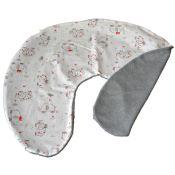 Housse bébé coussin allaitement, 1 face imprimée éléphant / 1 face éponge bambou gris