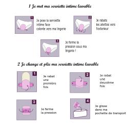 Lot 3 Serviettes hygiéniques lavables - jour -  Coton Bio