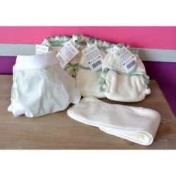 Mini Pack 4 couches lavables Evolutive Lucie nature chanvre + 1 Boxer Uni ou Imprimé à partir de