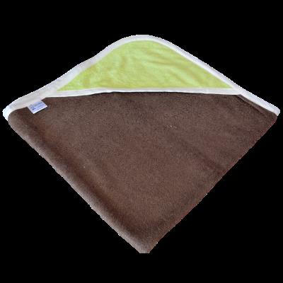 cape de bain bambou all color chocolat capuche verte