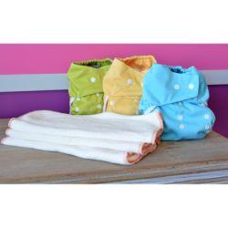 Mini Pack 5-15 kg, 3 Eco Couche lavable coloris mixte - 6 Inserts