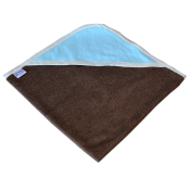 Cape de bain All color chocolat capuche bleue