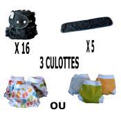 Start Pack, 16 couches lavables Evolutive Lulu Bambou Charbon + 3 Lulu Boxer taille Uni ou Imprimés  au choix  - A partir de