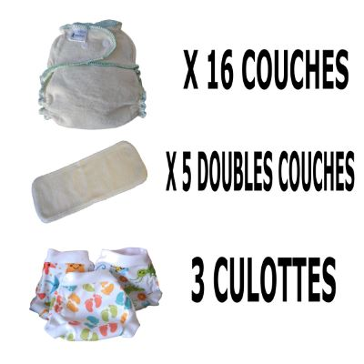 Start Pack, 16 couches lavables Evolutive Lucie Nature chanvre + 3 Lulu Boxer Uni ou Imprimés - taille au choix - A partir de