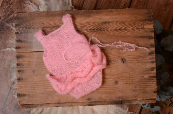 Pink ruffled mohair bodysuit and headband